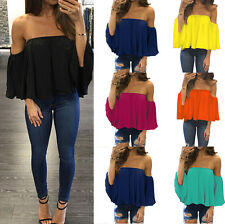 New Tops Off-shoulder Shirt Women Chiffon Top Summer Flare Sleeve Blouse T-shirt