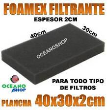 RECAMBIO 40X30X2CM ESPUMA FILTRANTE ESPESOR 2CM FOAMEX para FILTRO ACUARIO