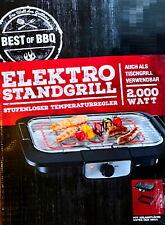 Elektrischer BBQ-Grill 2 in 1 Tischgrill Standgrill XXL Elektrogrill  41 x 24 cm