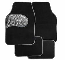 Universal Full 4 piece Car Floor Mat Set, With Silver Kick Plate & Silver Border