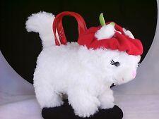 White Plush Kitty Cat Purse Girls Gymboree Faux Fur Kitten with Red Beret