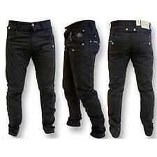 Crosshatch Kractus Mens Jeans Twisted Multi Pocket Cinche Denim Chinos Black