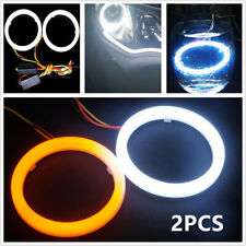 2PCS COB LED Car Angel Eyes Halo Ring Light Lamp w/ Turn Signal White Amber 60mm