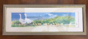 Wait For Me colour Goose Geese Gosling framed print 78cm x 29cm + frame & glass