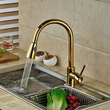 Kitchen Faucet Deck Mounted Handheld Pull Out Mixer Hot Cold Taps Polish Gold