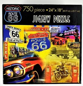 Master Pieces 750 Piece Jigsaw Puzzle Route 66 Motorcycle Car Road Signs
