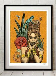 Erykah Badu Singer Black Queen Soul Sister Hip Hop Art  Print By Msdre