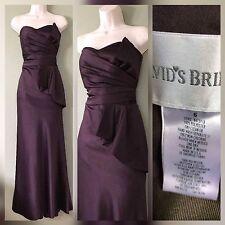 David's Bridal Formal Dress Bridesmaid Prom Dress SZ 6 GOWN Chocolate Color