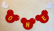 BIRTHDAY MICKEY MOUSE STYLE CAKE SMASH BANNER ANY AGE AND COLOUR