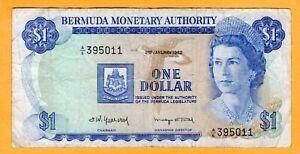 Bermuda 1 Dollar VF 1982 P-28b A/6 Prefix Queen Elizabeth II Banknote