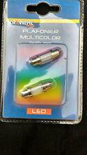 2 x 11mm x 36mm Multi Colour Changing LED Festoon Interior Light Bulb Auto Lamp