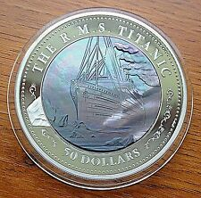 50$  TITANIC 100th Anniversary Mother of Pearl Silver 999 5oz  PROOF
