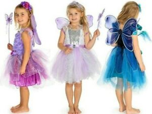 Child Kid Fairy Dress Wings Wand Fancy Dress Costume Age 3 4 5 6 7 8 Year Girl