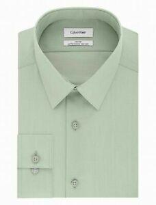 Calvin Klein Mens Dress Shirt Green Size 18 Solid Slim-Fit Non-Iron $75 #167