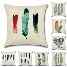 Retro Feather Stone Linen Pillow Case Sofa Waist Throw Cushion Cover Home Decor