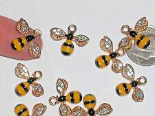 1pc Miniature doll tiny Golden Charm Pendant Crystal Bumble Bee Ladybug 14x17mm