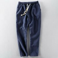 Men Summer Breathable Trousers Loose Cotton Linen Youth Casual Comfort Pants New