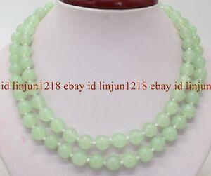 "Long 18"" 24"" 28"" 36"" 6/8/10/12mm Light Green Jade Round Gems Beads Necklace AAA"