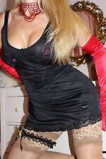 (S10) STEVEX shiny soft black nylon full slip petticoat lingerie size 14