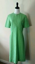 Vintage Green Floral A-Line Day Dress Handmade Mid Century Retro Short Sleeve
