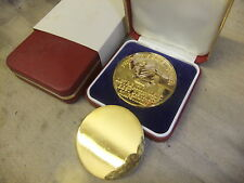 Coin medallion gold plated 50mm plus red 75x75mm presentation case British Gas