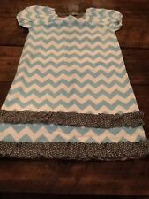 LOLLY WOLLY DOODLE GIRL'S CHEVRON CAP SLEEVE DRESS, SZ 8, BLUE/ GRAY