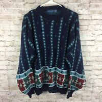 Vintage 90s Towncraft Blue Geometric Print Cosby Style Sweater ~ Mens Size XL