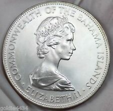 1971 Common Wealth BAHAMA Islands Sterling SILVER Five Dollars Coin $5 (Z1)