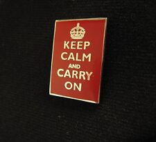 British KEEP CALM and CARRY ON Pin Badge - Metal Enamelled WW2 Poster Accessory