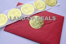 50 Large GOLD Round sticker seals embossed metallic foil stickers 2""