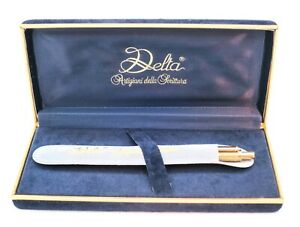 Rare Boxed Delta Sterling Silver Gold Plated Ballpoint Pen inc Sleeve & Warranty