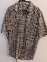 Vintage Western Ely Cattleman Pearl Snap Button Short Sleeve Dress Shirt 2XL