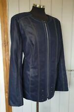 Artigiano blue suede effect jacket size 22 biker style collarless studded plus