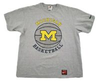 Vintage Nike NCAA Michigan Basketball Gray Yellow T-Shirt Size Lg Made In USA