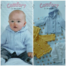 KNITTING PATTERN Baby 3 styles Long Sleeve Frilled Jackets Aran King Cole 3133
