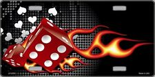 Fire Dice Flame Vanity Metal Novelty License Plate