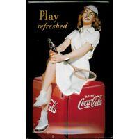 Coca Cola Tennis Mädchen Geprägte Stahl Zeichen 300mm x 200mm (Hi )