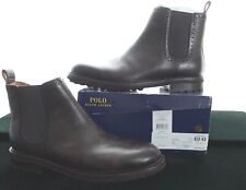 BNWB RALPH LAUREN NUMAN MEN'S BROWN LEATHER CHELSEA BOOTS SIZE UK 8 RRP £245