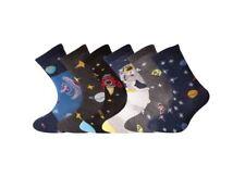 12 Pairs Kids Boys Cotton Socks School Summer Trainer Ankle Socks Sea Life Space 6-8 B10731