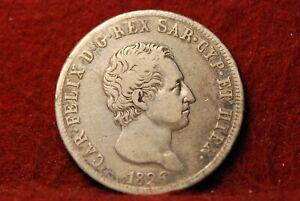 Italy - Sardinia, 1826-L 5 Lire, KM116.1, Fine-Very Fine, Very Scarce!      3-21