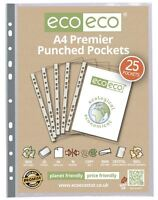 25 x eco-eco A4 100% Recycled Smooth Glass Clear Premier Punched Plastic Pockets