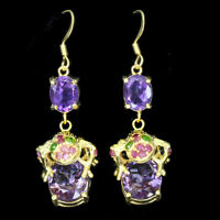 Unheated Amethyst 12x10mm Chrome Diopside Ruby 925 Sterling Silver Frog Earrings