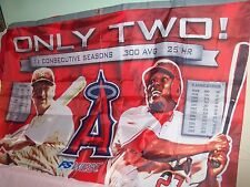 """L.A. Angels Banner Flag, Vladi Guerrero & Lou Gehrig """"Only Two"""" Cons. Seasons"""
