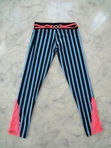 NWT$56 California Kisses black/ blue striped dance legging pant girl & junior sz