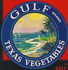 "3 Gulf Texas Vegetables Crate Labels Gulf Distributing Co. Weslaco,Texas 5"" x 8"""