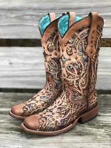 Corral Women's Bone & Multi Color Inlay Square Toe Western Boots C3405