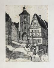 Original drawing German town view, 1st half of 20th century
