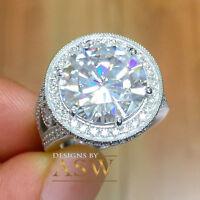 14K WHITE GOLD ROUND SIMULATED DIAMOND ENGAGEMENT RING BRIDAL HALO PRONG 5.00CTW
