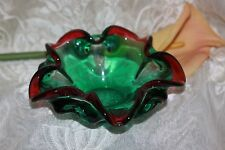 Murano Glass Green/Red Cased Bowl/Dish/Ashtray Vintage