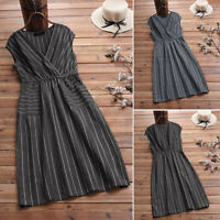 ZANZEA Women Sleeveless Stripe Tank Dress Tunic Casual Summer Long Shirt Dress